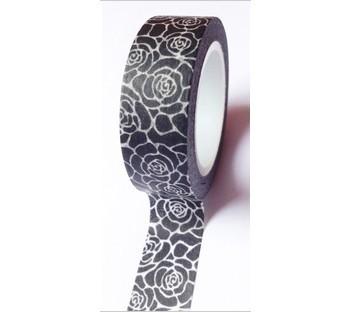 Masking Tape fleurs - noir et blanc