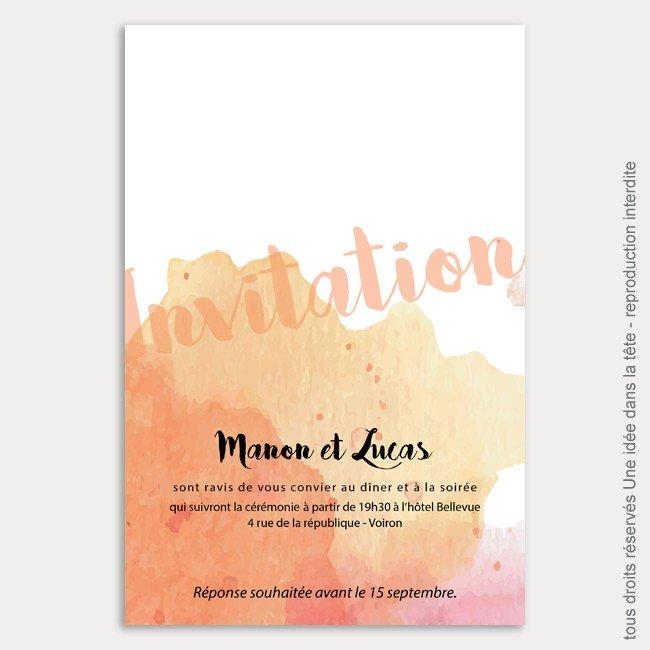 invitation mariage / aquarelle / corail