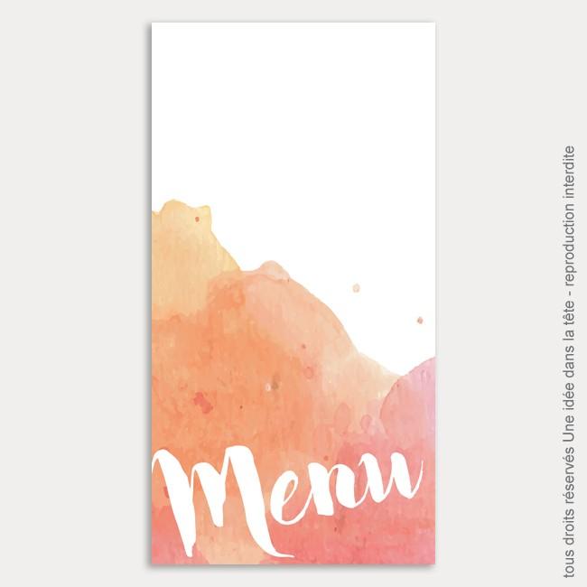 menu mariage vertical / aquarelle / corail