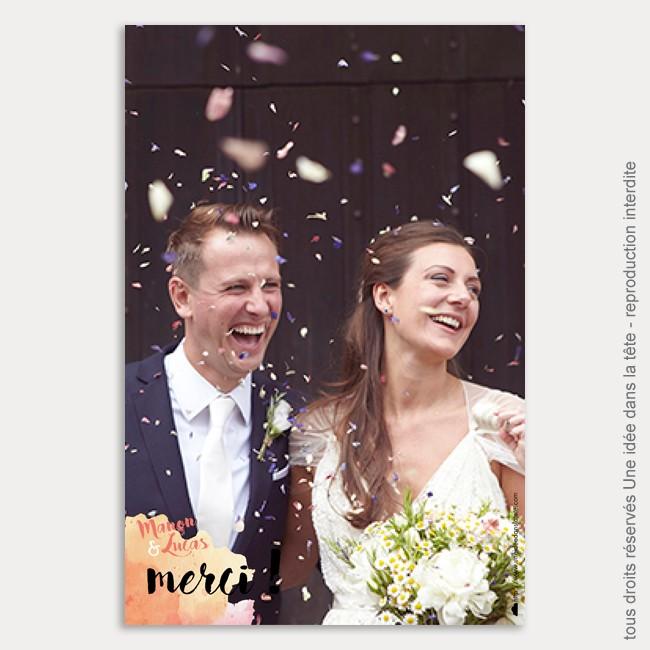 remerciements mariage / aquarelle / corail