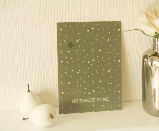 "Carte postale ""my sweet home"" / gris métal"
