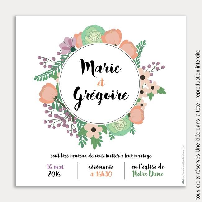 faire-part de mariage / bouquet de fleurs