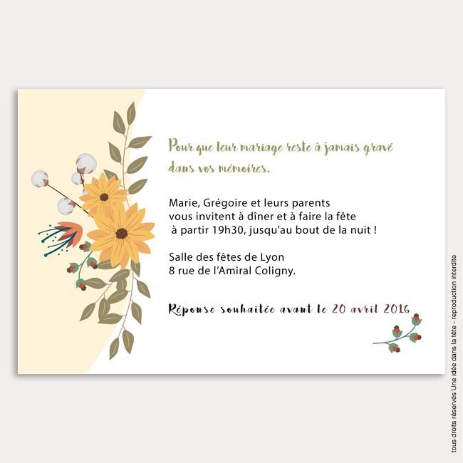 invitation mariage / bouquet de fleurs