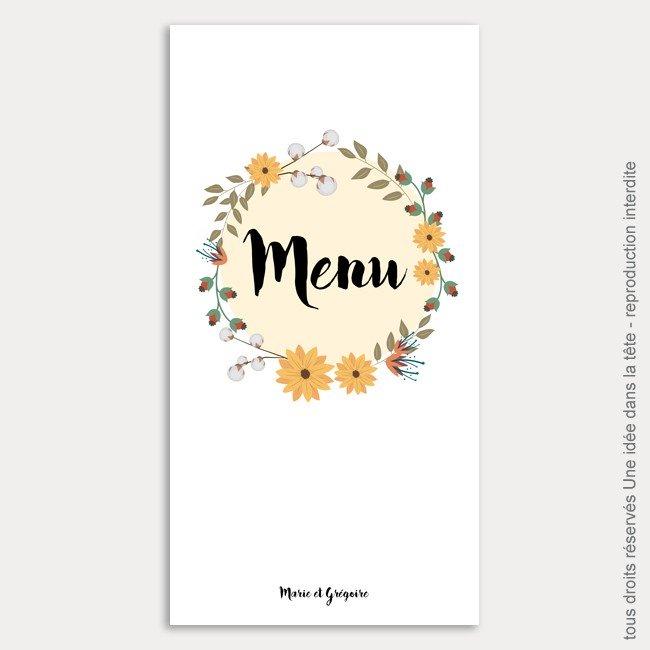 menu mariage vertical / bouquet de fleurs