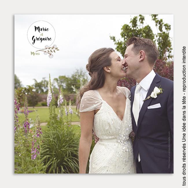 remerciements mariage / bouquet de fleurs