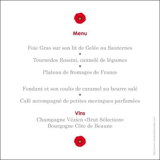 menu mariage carré / les coquelicots