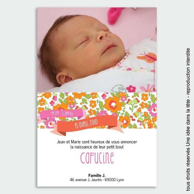 faire-part naissance / Liberty orange