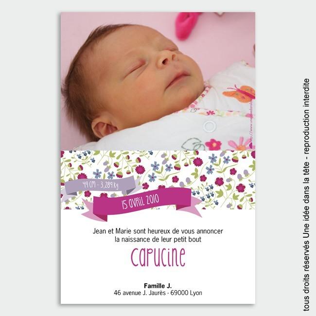 faire-part naissance / Liberty rose fuschia