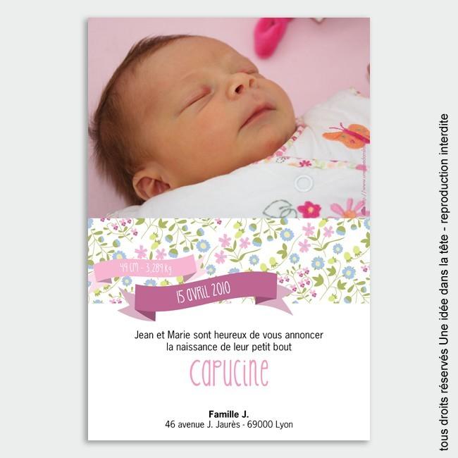 Faire Part Naissance Carte Postale Faire-part Naissance / Liberty