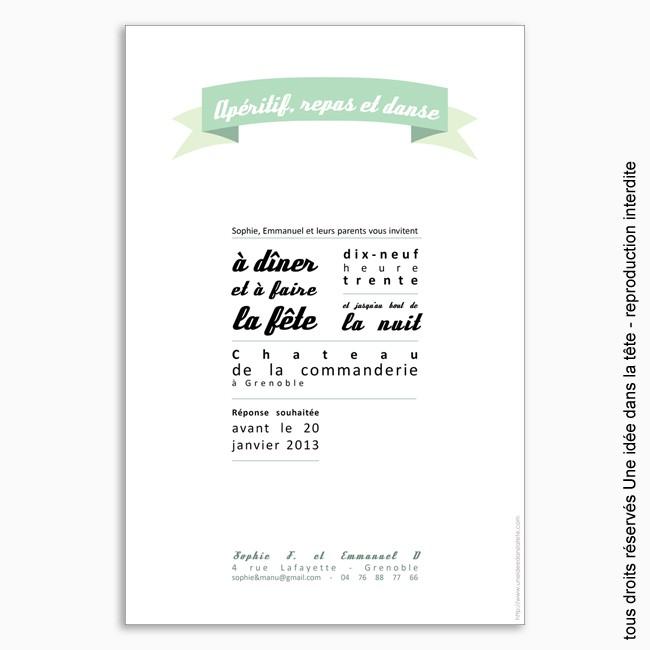 invitation mariage / ruban / mint
