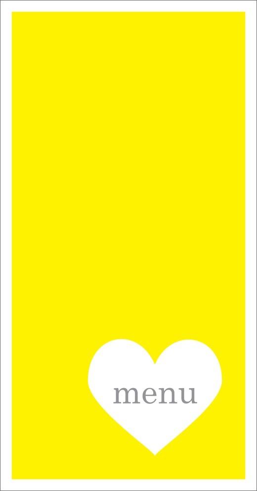 menu mariage vertical /  un coeur coloré