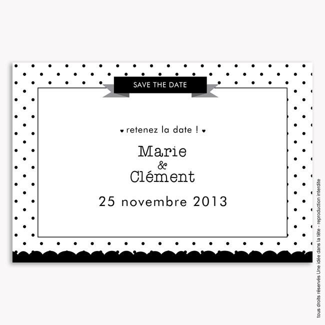 save the date mariage /  géométrique / noir et blanc