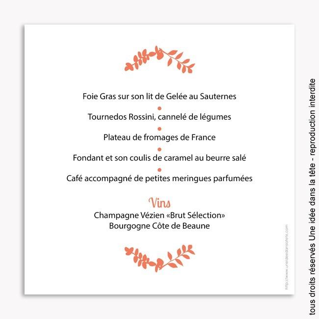 menu mariage carré / guinguette