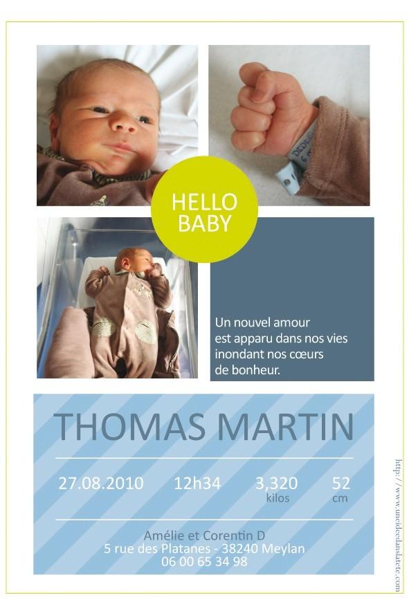 faire-part naissance / Hello baby bleu