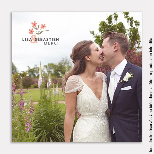 remerciements mariage / Liberty / rose corail