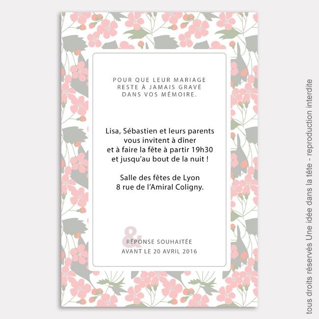 invitation mariage / liberty / rose poudré