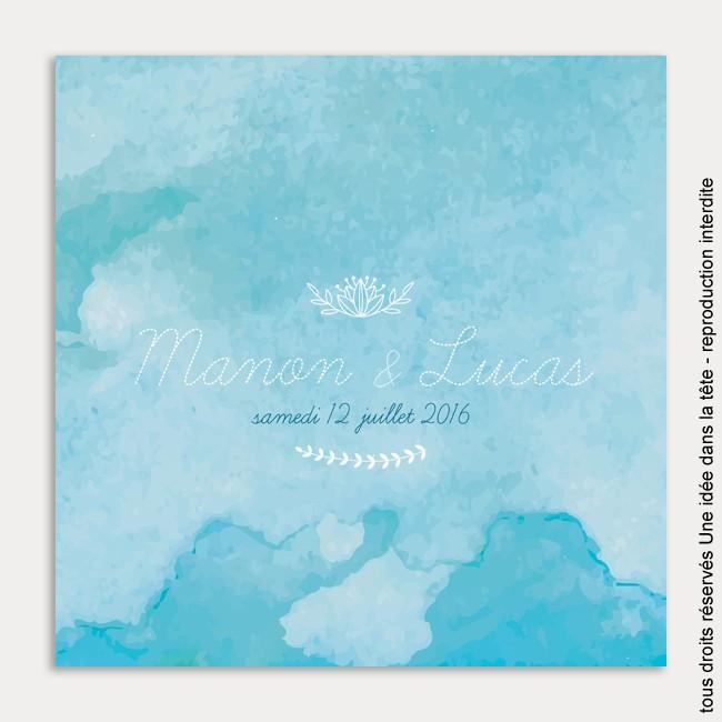 faire-part de mariage / aquarelle / bleu