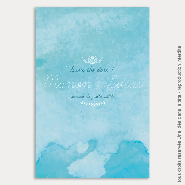 save the date mariage / aquarelle / bleu