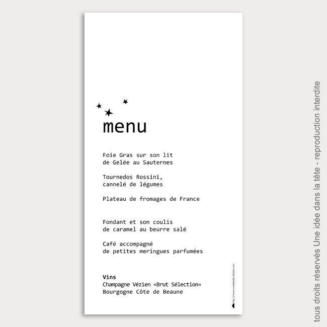menu mariage toile noir. Black Bedroom Furniture Sets. Home Design Ideas