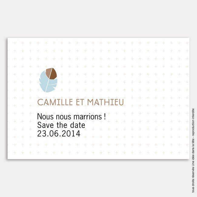 mariage save the date plume