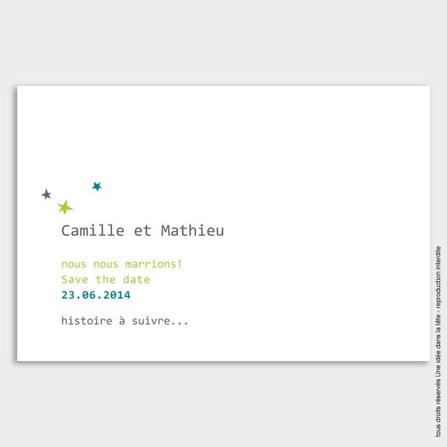 Save the Date mariage / étoile / bleu