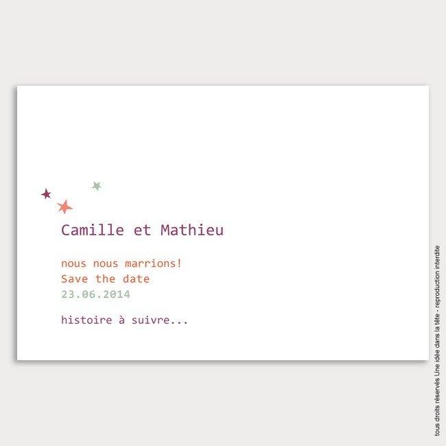 save the date mariage / étoile / violet