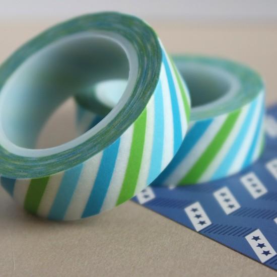 masking tape rayures obliques - bleu et vert