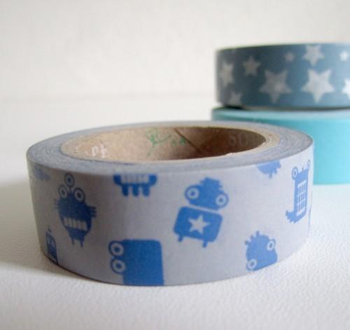 Masking Tape robots - bleu et gris
