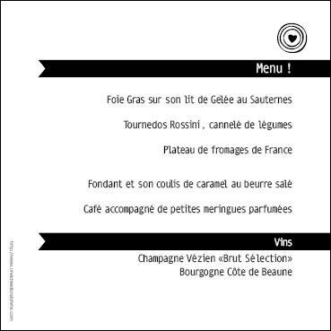 menu mariage carré / mélange de couleurs