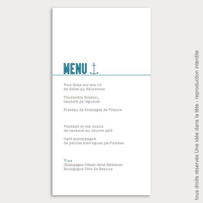 menu mariage vertical / marin