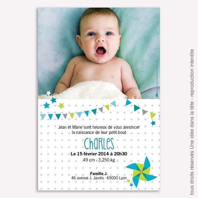 Faire part naissance Moulin à vent / vert et bleu