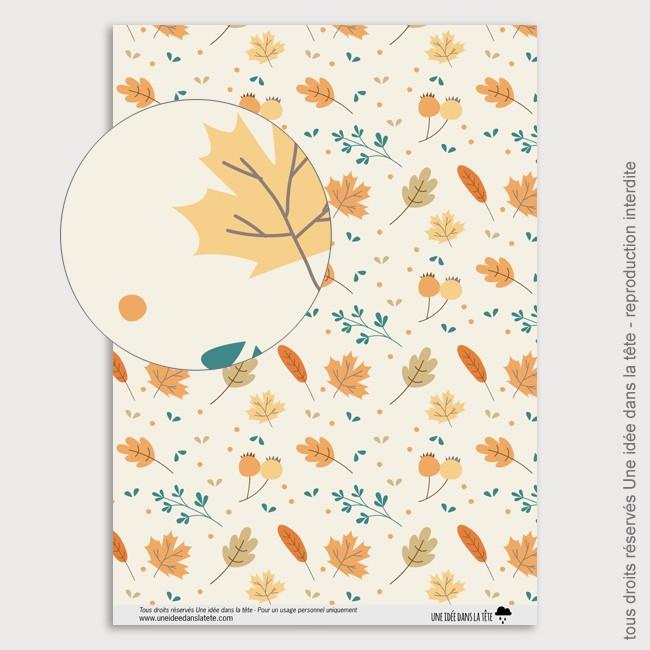 Papier Scrapbooking feuilles d'automnes / orange et bleu