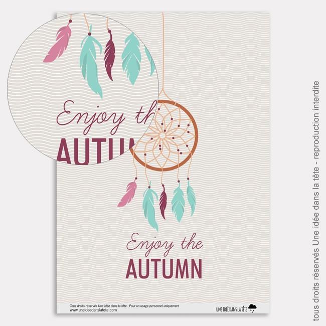 Papier Scrapbooking couleurs d'automne  / attrape rêves