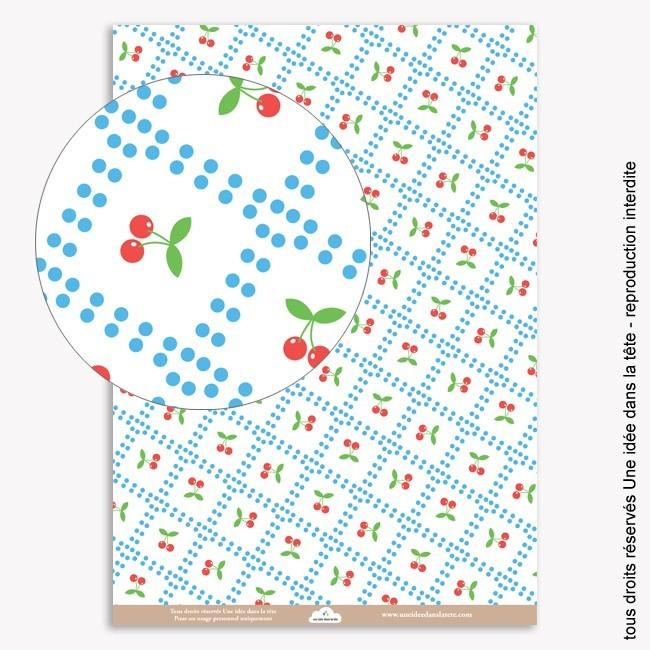 papiers scrapbooking le temps des cerises (carreaux)