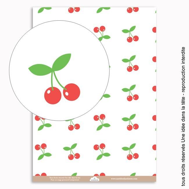 papiers scrapbooking le temps des cerises (fond blanc)