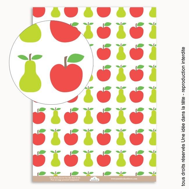 papiers scrapbooking pomme rouge et poire verte