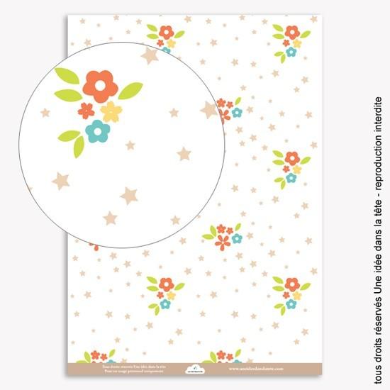 papiers scrapbooking fleurs et étoiles / rouge corail
