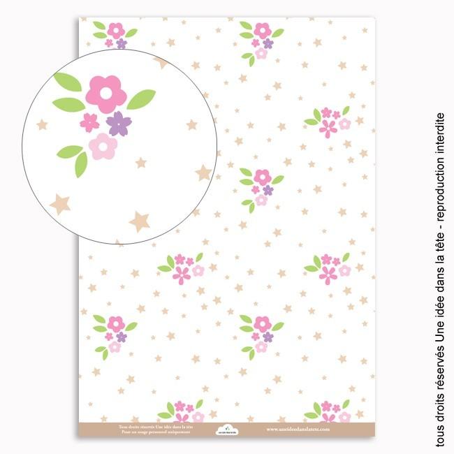 papiers scrapbooking fleurs et étoiles / rose