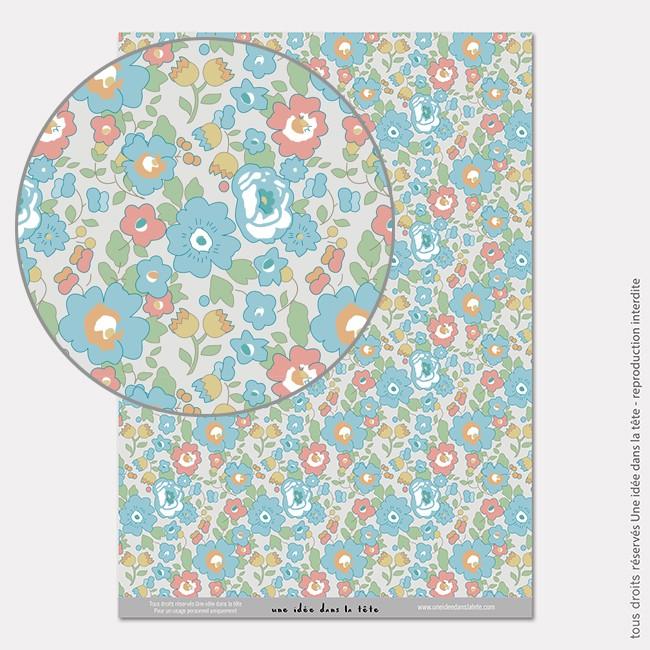 Papier Scrapbooking liberty porcelaine / bleu
