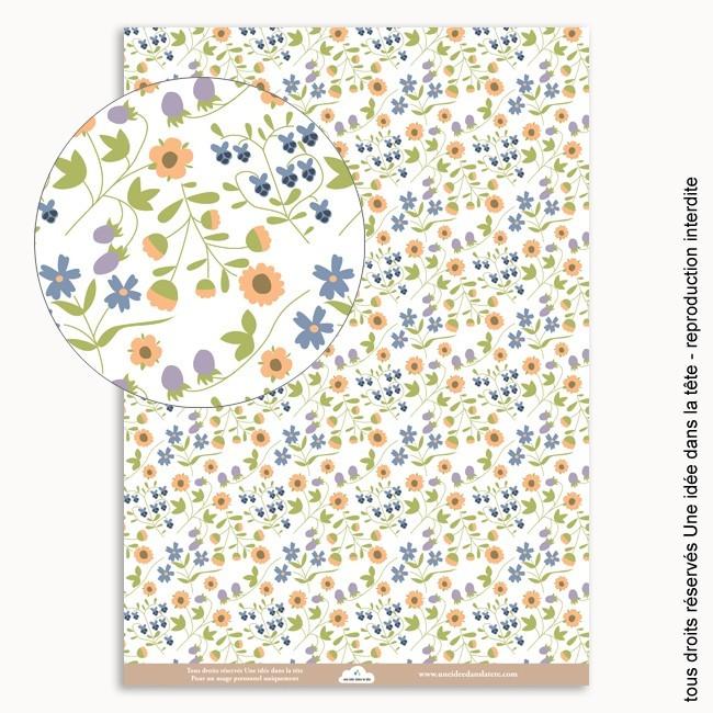 papier scrapbooking Liberty fraises / vert
