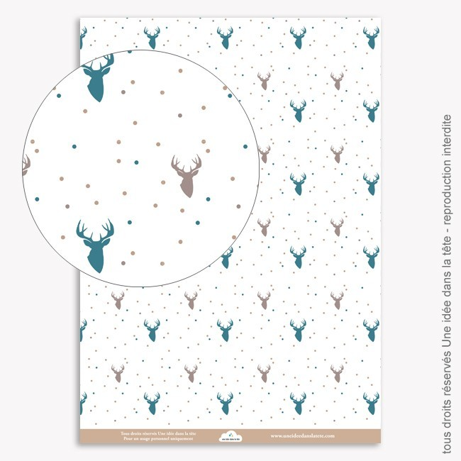 Papier Scrapbooking  Noel bleu / cerfs 2