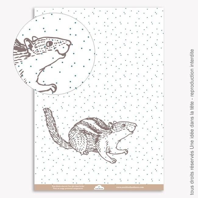 Papier Scrapbooking  Noel bleu / écureuil