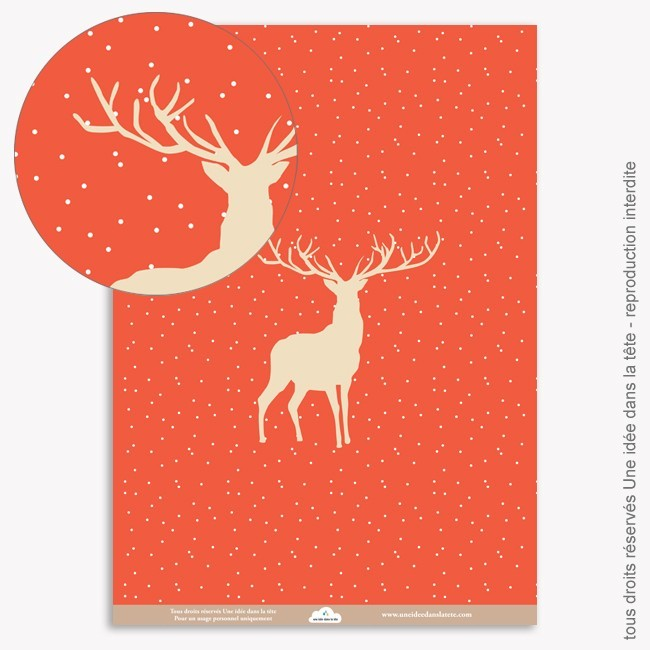 Papier Scrapbooking  Noel rouge / cerfs