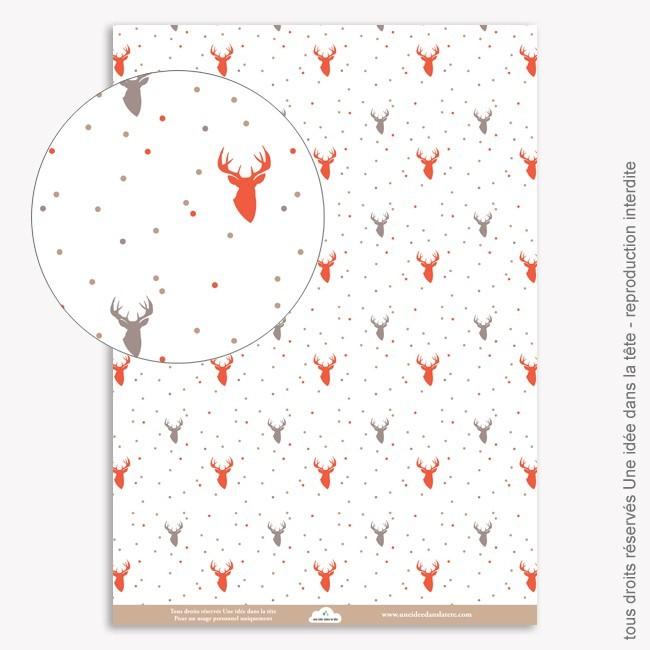 Papier Scrapbooking  Noel rouge / cerfs 2