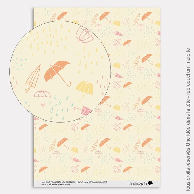 Papier Scrapbooking couleurs d'automne / parapluies oranges