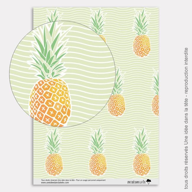 Papier Scrapbooking tropicool / ananas