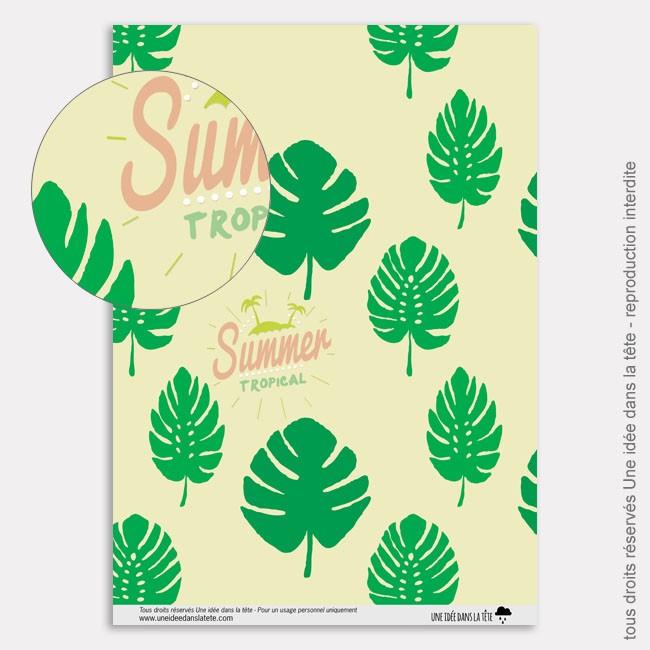 Papier Scrapbooking tropicool / feuilles des tropiques