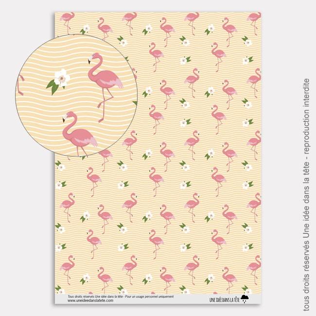 Papier Scrapbooking tropicool / flamants roses