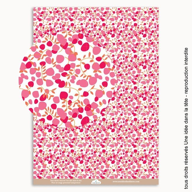 papier scrapbooking Liberty fleurs rose