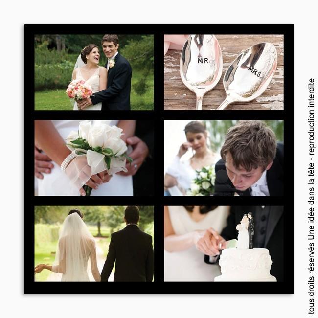 remerciements mariage classique 6 photos fond noir - Remerciement Mariage Photo